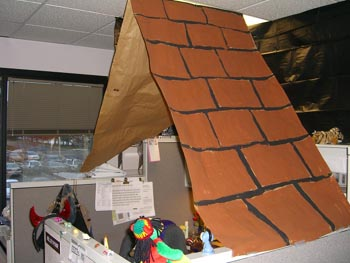 The Trick Or Treat House At Kelley Pooru0027s Cubicle Had A Homemade Roof And A  Two Foot Tall Trick Or Treater!